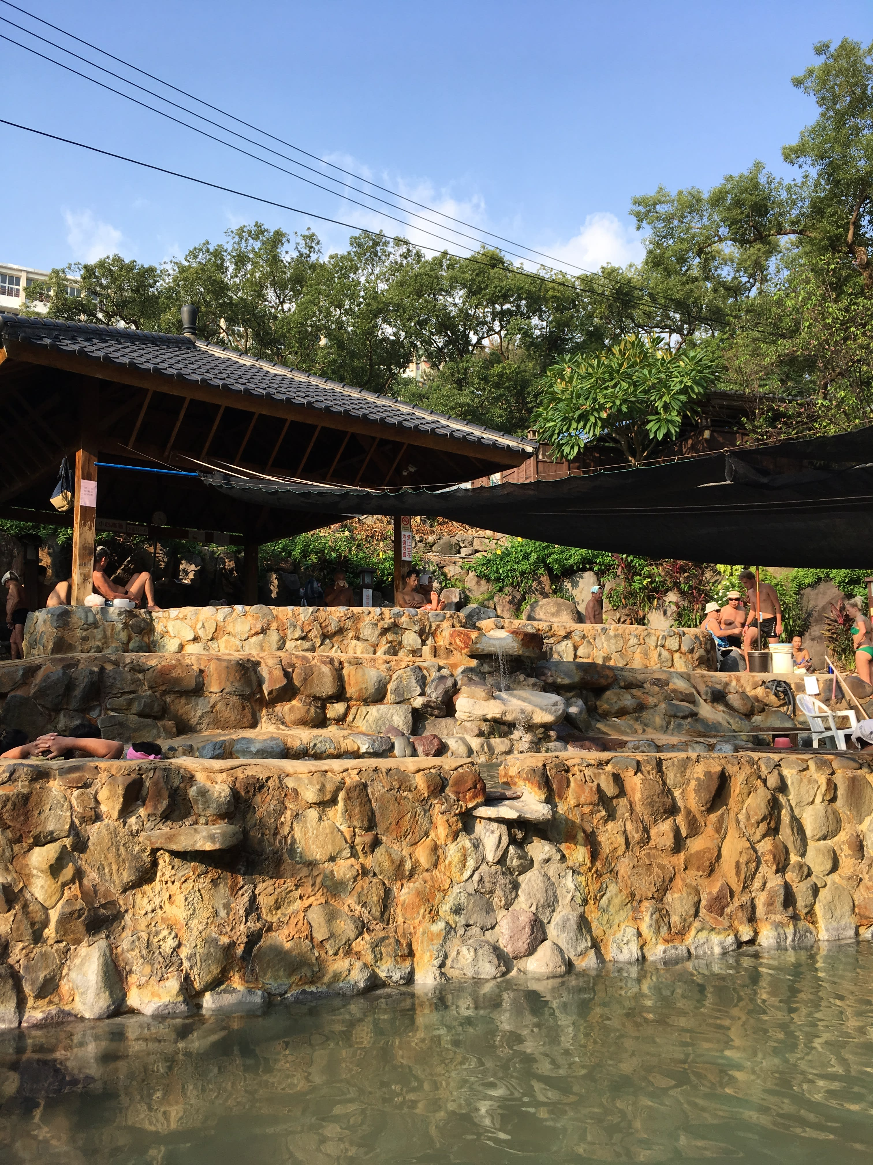 依地勢高低錯落分布的溫泉浴池 來源:臺北市政府工務局公園路燈工程管理處