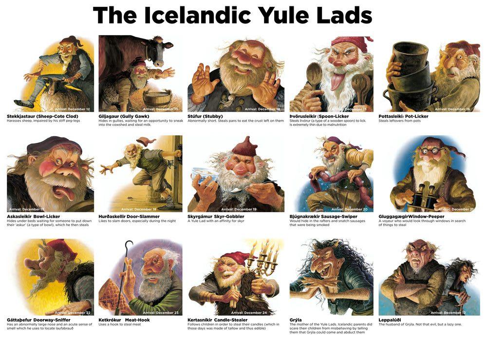 當地傳說有13個冰島版的聖誕老人Yule Lads,形象顛覆以往的慈祥和藹,是調皮奸詐又鬼靈精怪,圖片取自www.christopherhallart.com。