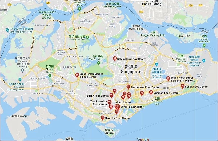 在地圖上搜尋,即可看到許多的熟食中心
