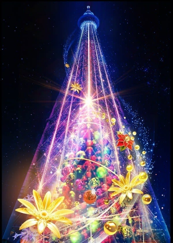 東京晴空塔聖誕光雕投影秀 來源:©TOKYO-SKYTREE