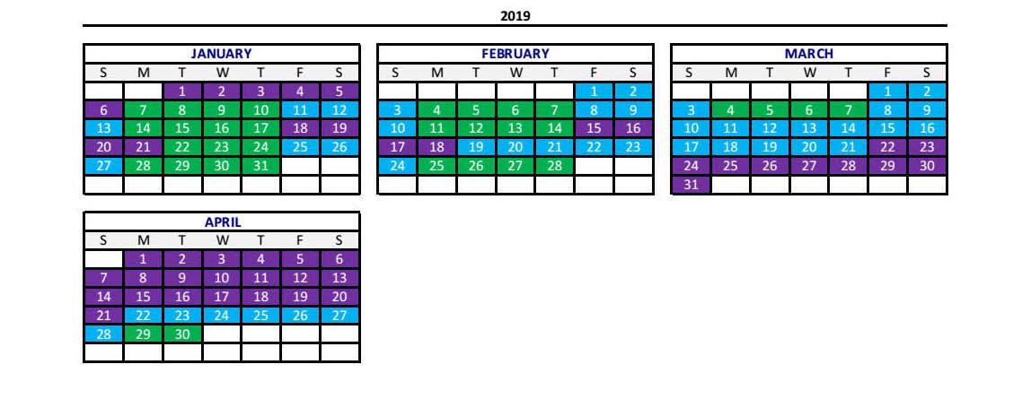 2019年度淡旺季日曆(紫色:Peak尖峰 / 藍色:Regular平日 / 綠色:value經濟 )