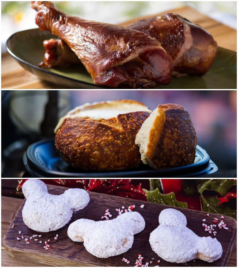 由上至下為煙燻火雞腿「Turkey Leg」、蛤蜊濃湯麵包盅「Clam Chowder in a Sourdough Bread Bowl」、南瓜甜甜圈「PumpkinMickeyBeignets」。(圖片取自美國迪士尼樂園官網)