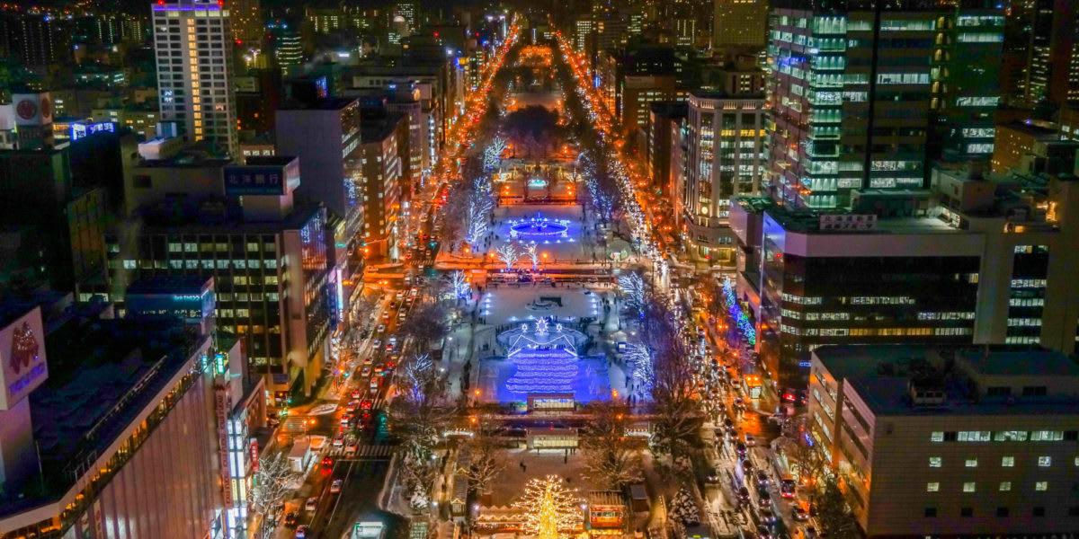 俯瞰白色燈樹節期間的大通公園 / http://www.sapporo.travel