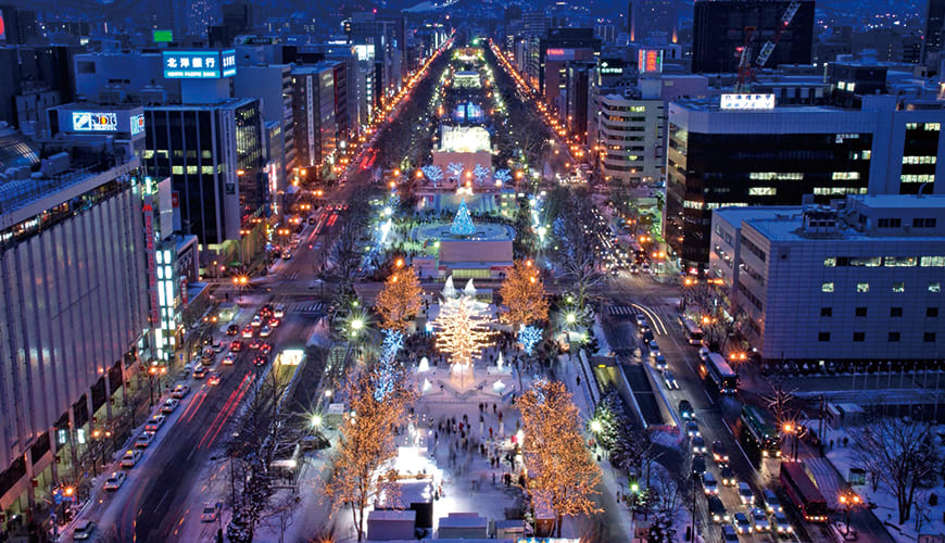 大通會場夜景。(圖片取自www.snowfes.com)