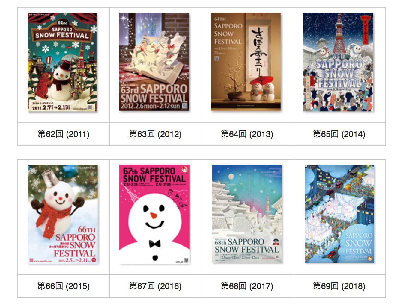 札幌雪祭歷年活動海報,設計別出心裁。(圖片取自www.snowfes.com)