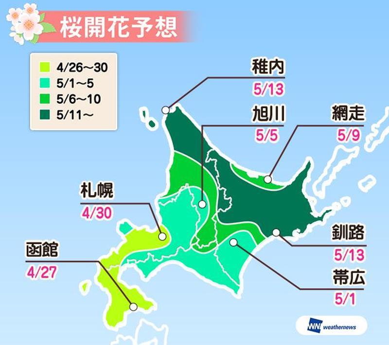 北海道地區櫻花開花預測(圖片來源:Weather Map官網)https://bit.ly/2QZYQDm