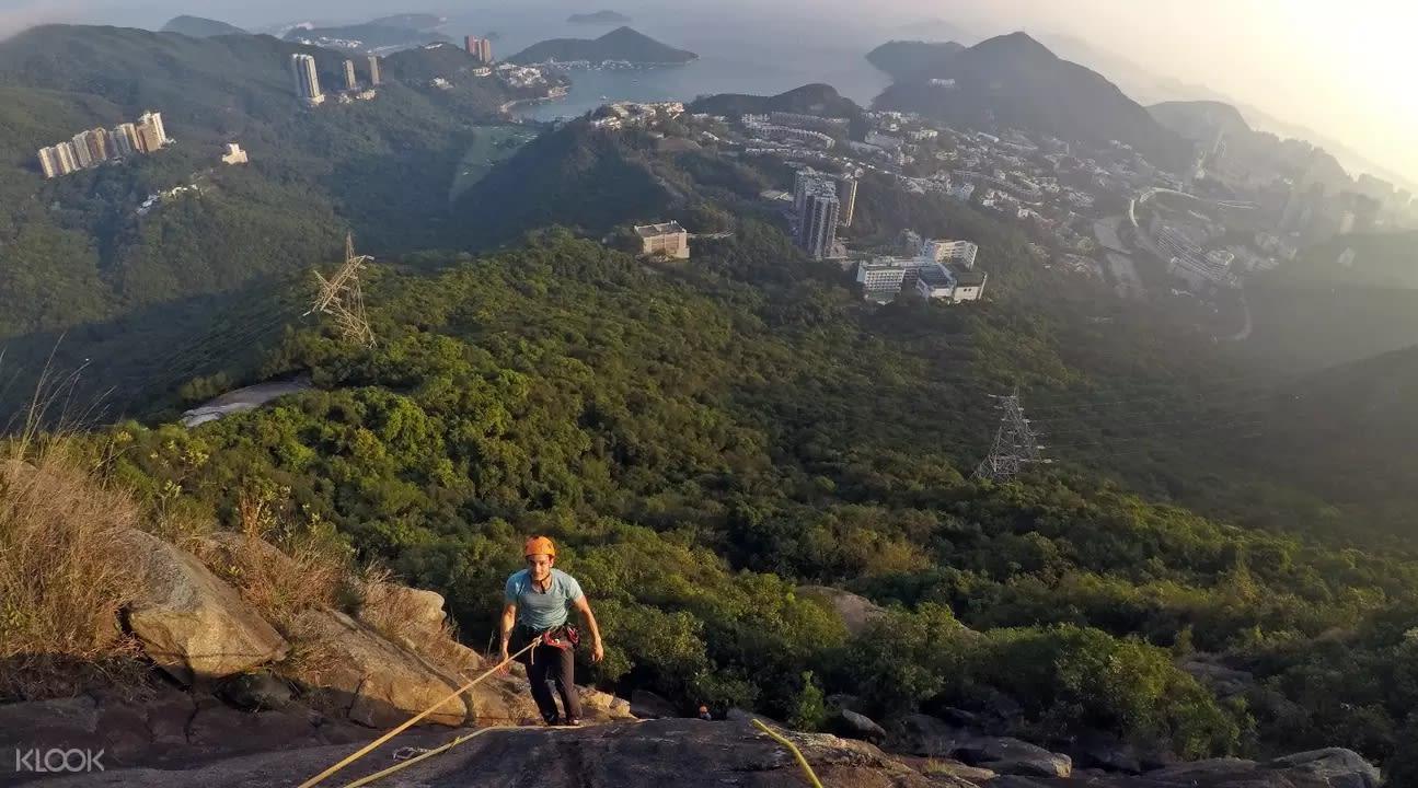野外攀岩的同時能夠居高飽覽香港的美景。