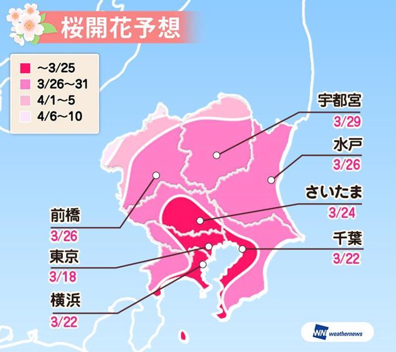 關東地區櫻花開花預測(圖片來源:Weather Map官網)https://bit.ly/2QZYQDm