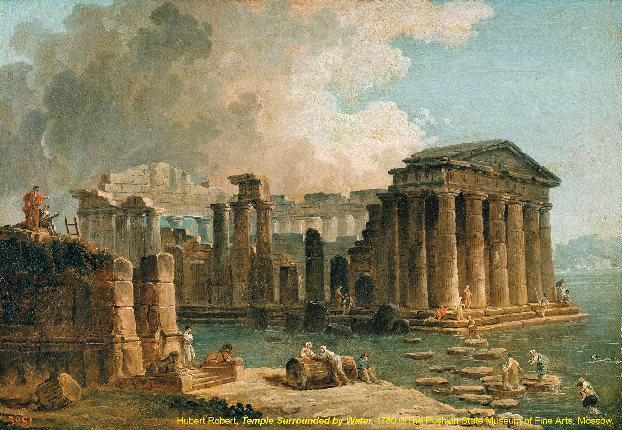 台北展覽俄羅斯普希金博物館特展,被水環繞的神殿Temple Surrounded by Water / 于貝·霍貝Hubert Robert / 1780s