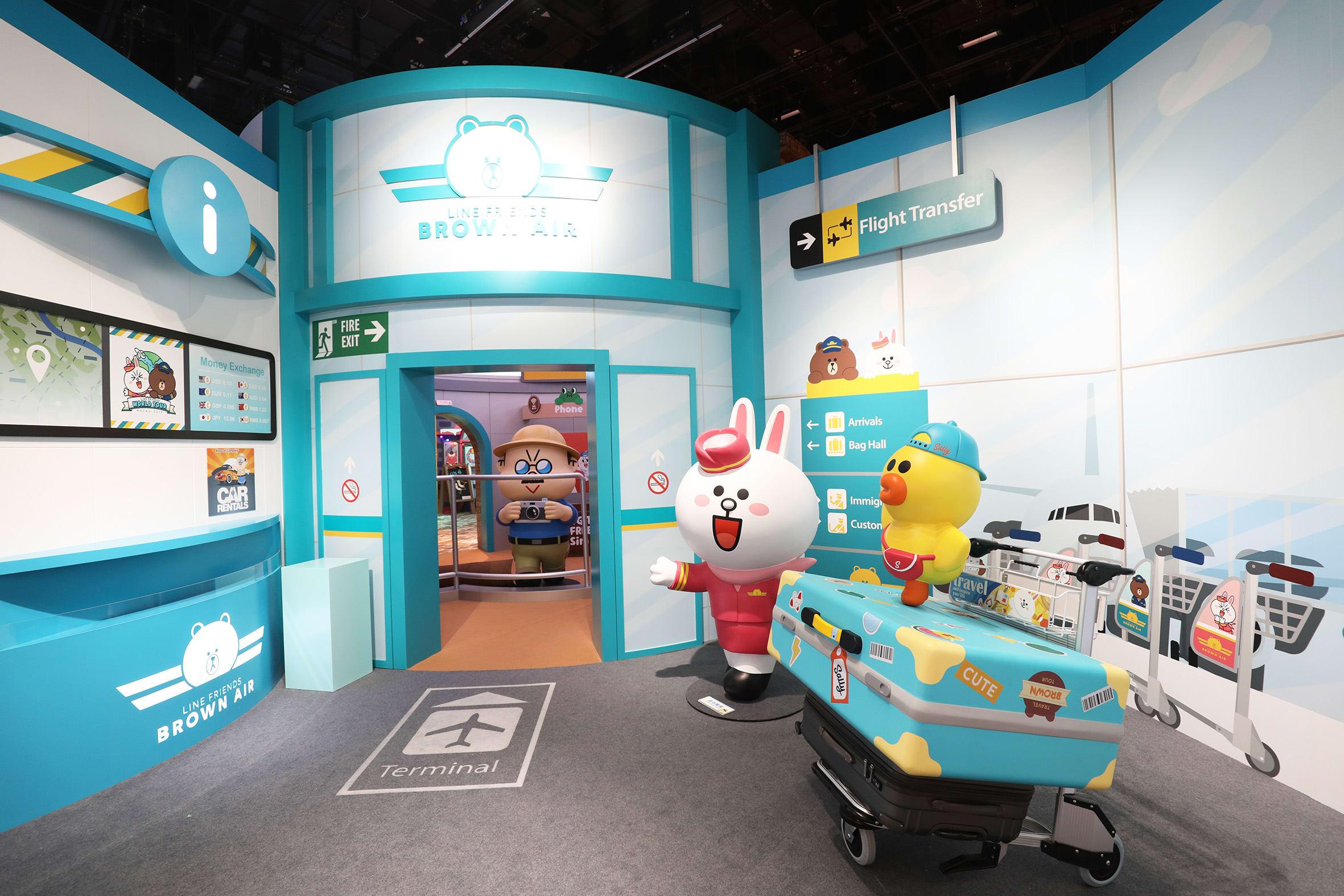 台北展覽,LINE FRIENDS:世界巡迴之旅,準備下機囉,空姐兔兔來招呼,感謝旅客搭乘,入境請往裡面走