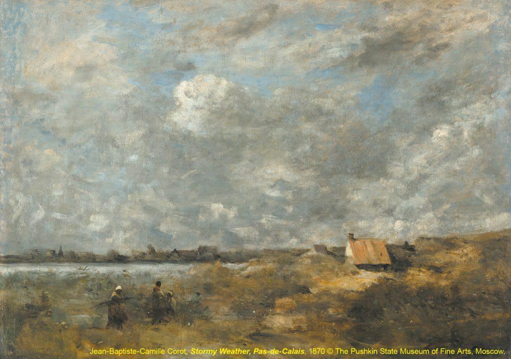 台北展覽俄羅斯普希金博物館特展,加萊海峽省,風暴來襲Stormy Weather, Pas-de-Calais / 尚-巴蒂斯·卡密爾·柯洛Jean-Baptiste-Camille Corot / Around 1870