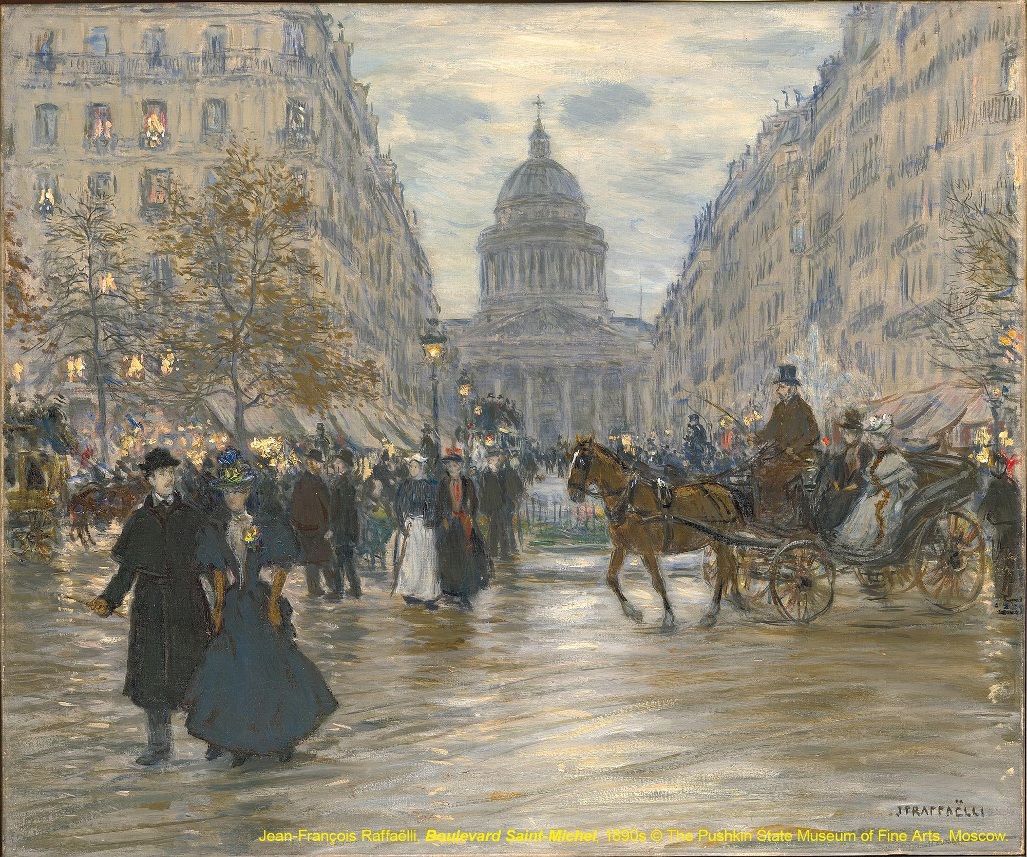 台北展覽俄羅斯普希金博物館特展,聖米歇爾大道Boulevard Saint-Michel / 尚-法蘭索瓦·哈斐利Jean-François Raffaëlli / 1890s
