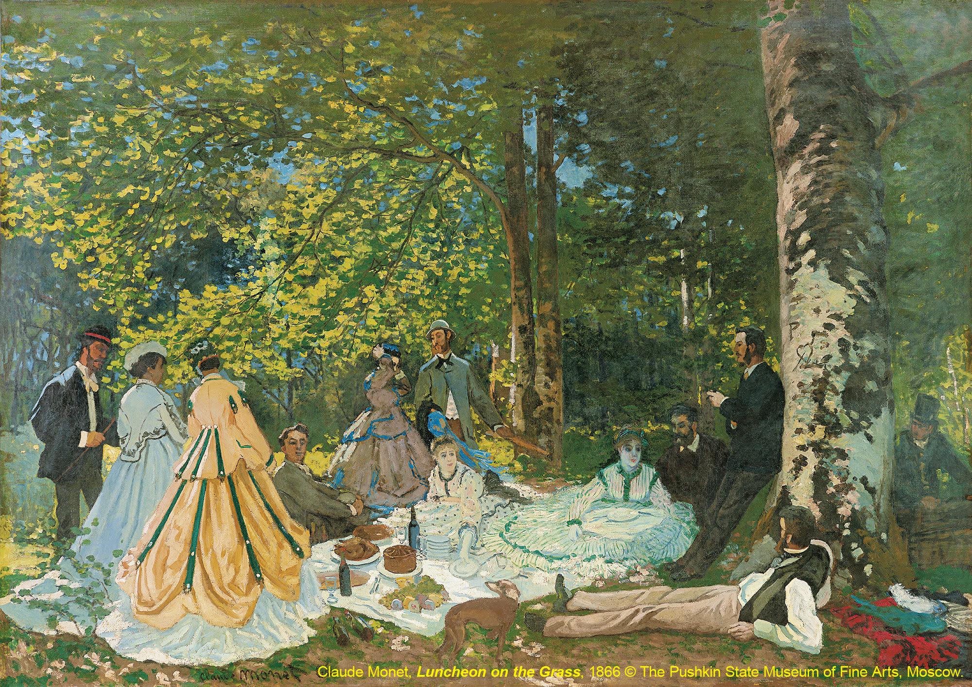 台北展覽俄羅斯普希金博物館特展,草地上的午餐Luncheon on the Grass / 克勞德·莫內Claude Monet / 1866