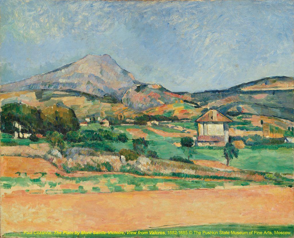 台北展覽俄羅斯普希金博物館特展,從瓦爾克斯望向聖維克多山腳的平原The Plain by Mont Sainte-Victoire, View from Valcros / 保羅·塞尚Paul Cézanne / 1882-1885