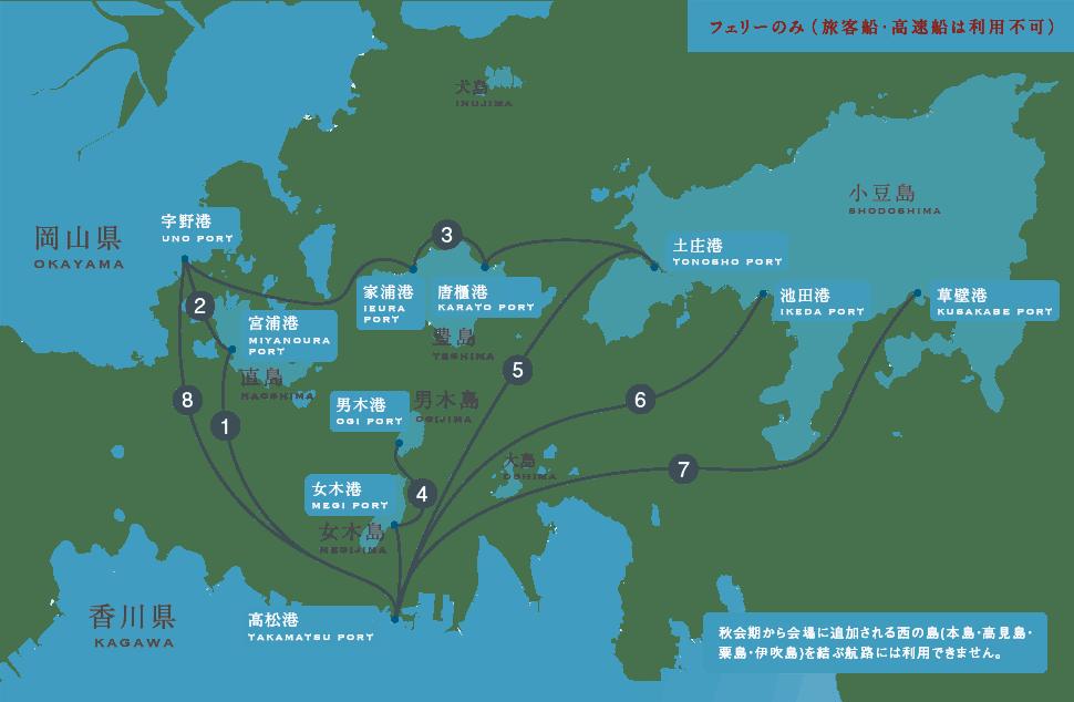 渡輪3日通票可搭乘路線 來源:https://setouchi-artfest.jp