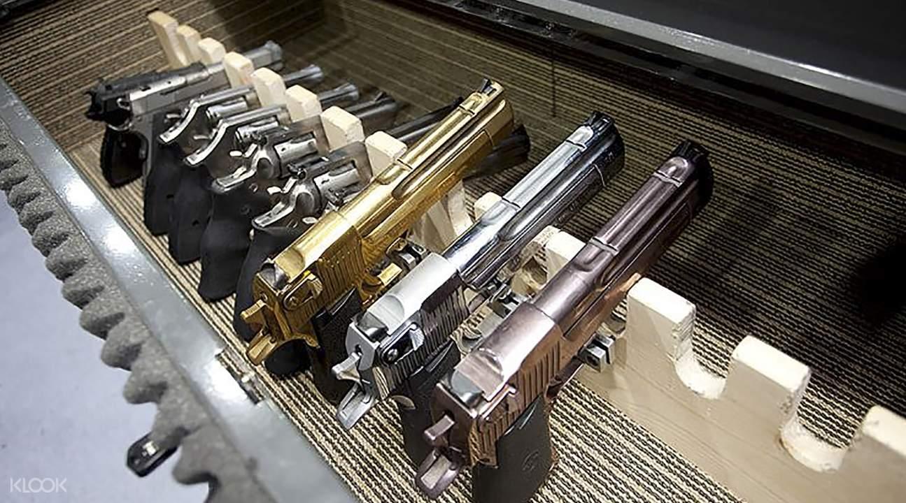 槍枝種類多元,有專人講解教學。