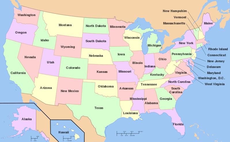 美國各州地圖。(圖片取自維基百科)