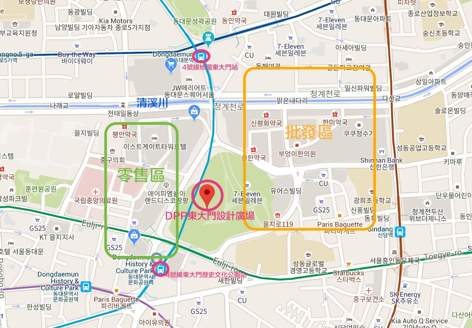 東大門商場解析:批發商場與零售區怎麼分?圖片擷取自google map。