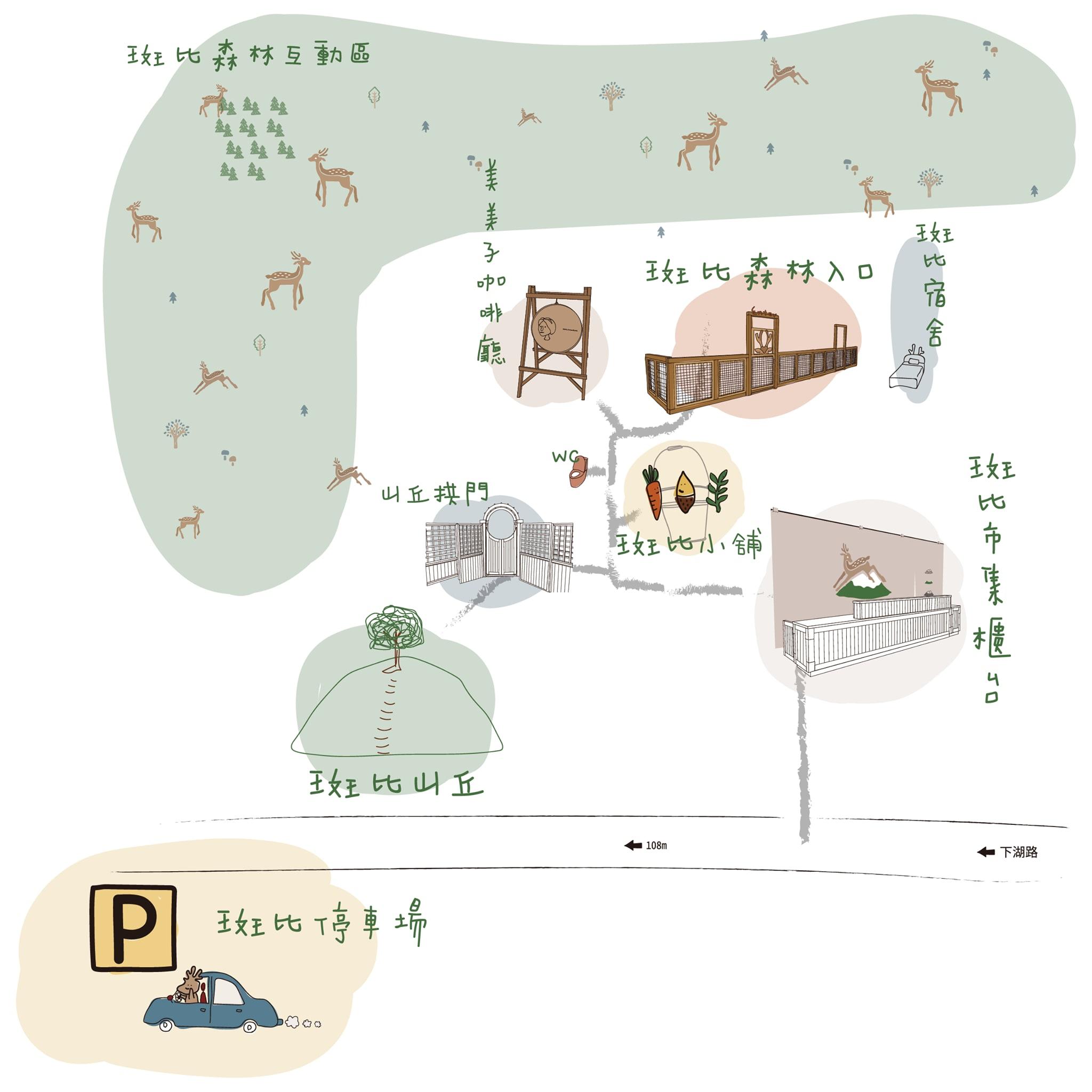 可愛的園區手繪地圖。(圖片取自斑比山丘 Bambi Land官方FB粉絲團。)
