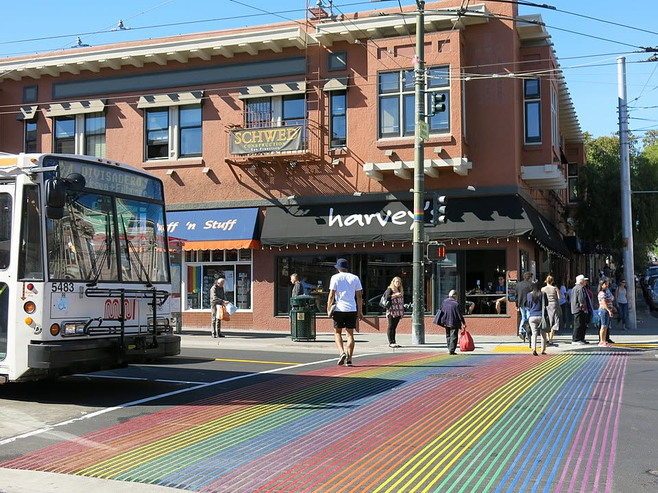 960px Castro Street Pedcrossing with Rainbow Flag Colour