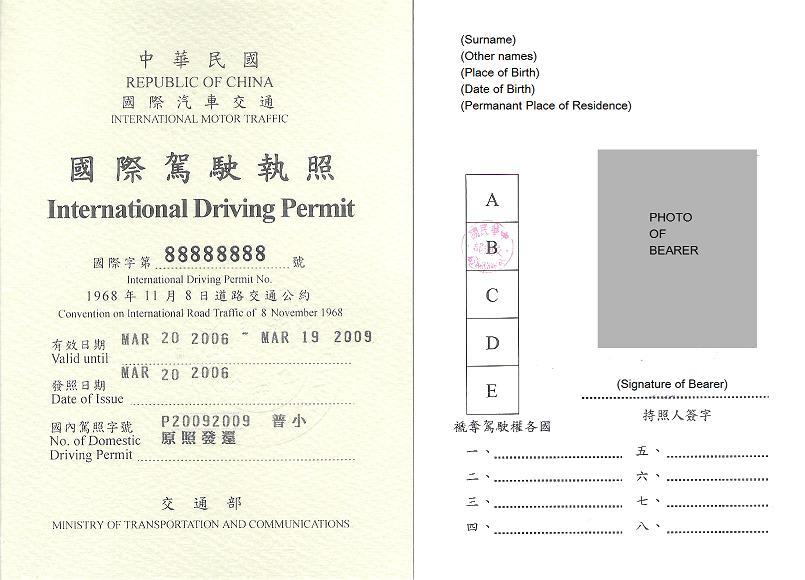 國際駕照 需要持照人簽字及 證件照 的提供