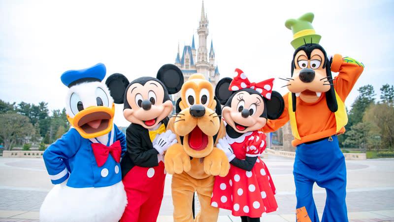 可愛的迪士尼經典人物誠摯歡迎來到迪士尼世界!(圖片取自https://www.tokyodisneyresort.jp/dream/lp/tc/panorama.html)