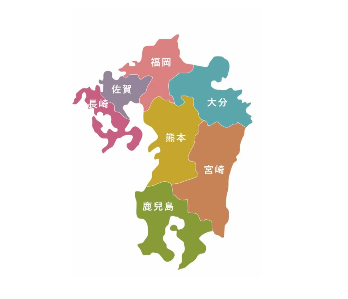 九州七縣市分佈地圖。SOURCE:welcomekyushu.jp