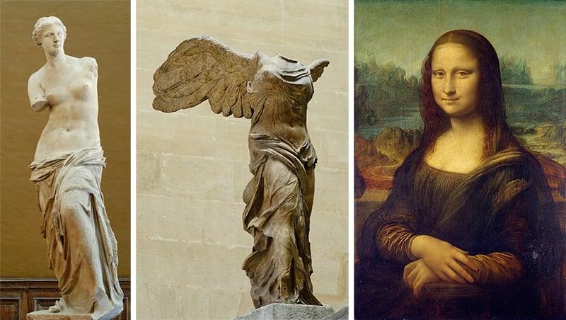 維納斯、勝利女神、蒙娜麗莎