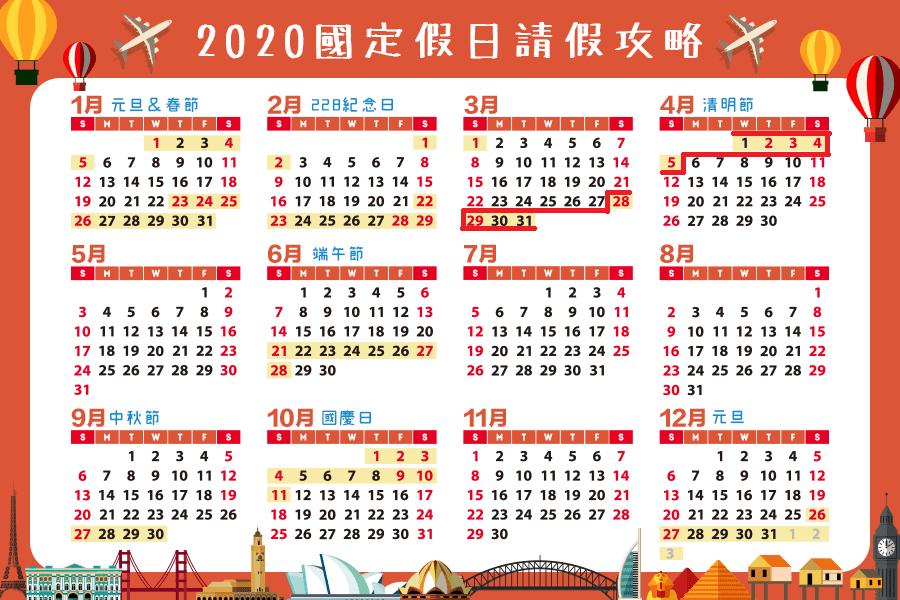 2020清明連假至少有4/2~4/4四日,如果能再請3天假,就有9天連假了。
