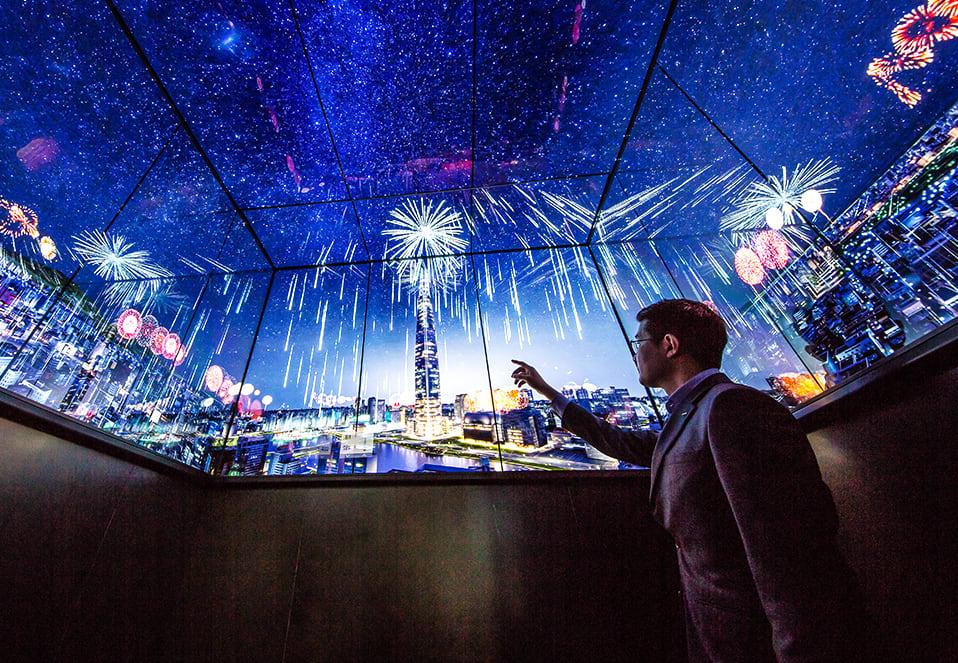 樂天世界的全景玻璃 營造 韓國跨年 歡樂氛圍
