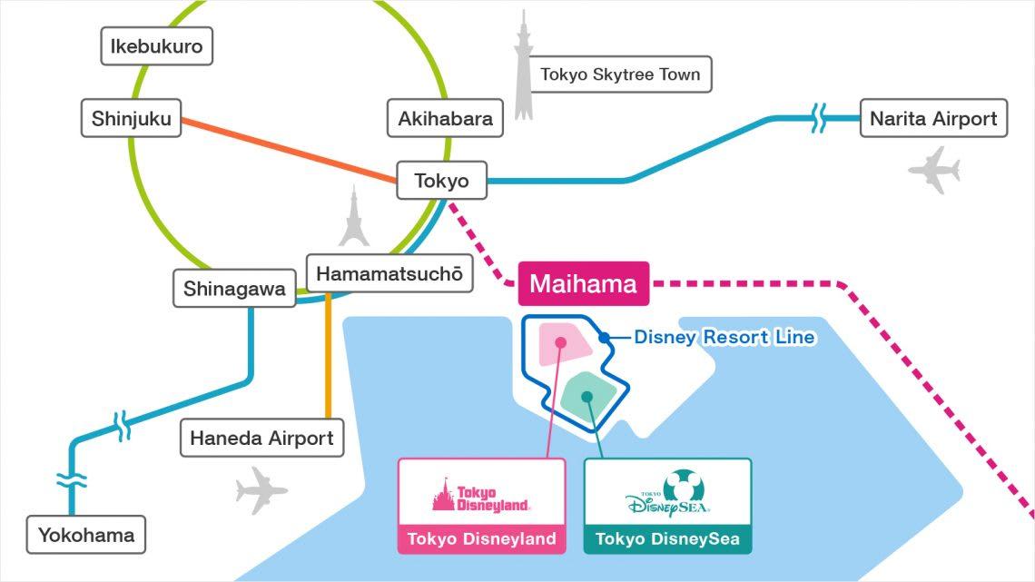 東京迪士尼園區交通示意圖。圖片來源:東京迪士尼官網