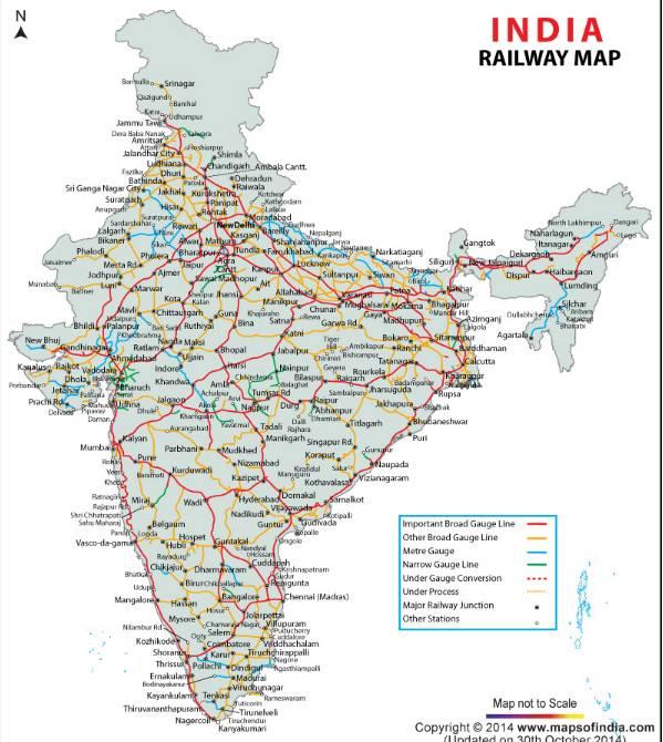 印度鐵路路線圖。