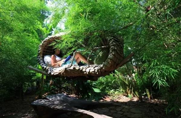 躺 在 天 然 吊 床 中 也 是 種 享 受 。