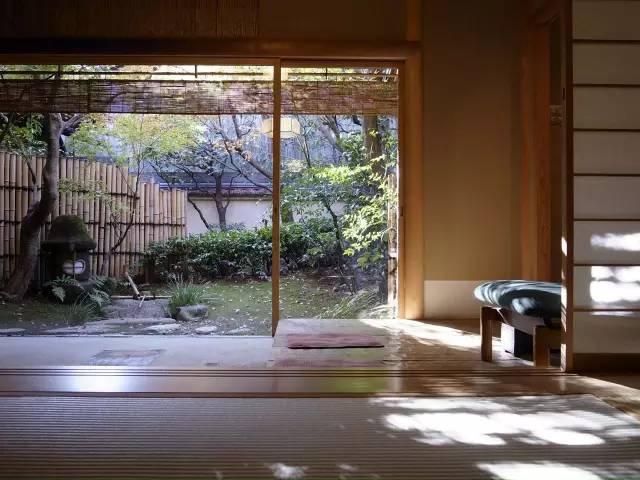 從 房 間 內 看 到 的 庭 園 景 觀 。
