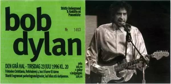 圖 為 Bob Dylan 1 9 9 6 年 在 Grey Hall 的 演 唱 會 海 報 。