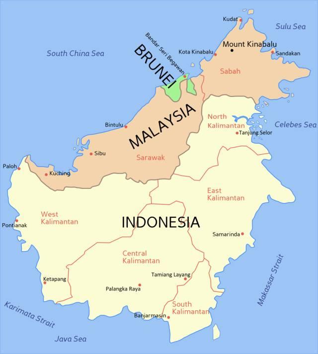 婆 羅 洲 領 土 區 劃 | 圖 片 : 維 基 百 科。