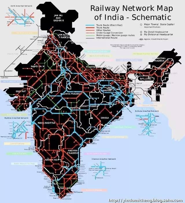印 度 鐵 路 路 線 。