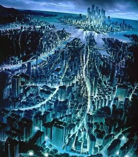 《 攻 殼 機 動 隊 》 裡 的 東 京 市 : 網 路 與 城 市 擴 張 相 結 合 , 形 成 一 個 超 級 科 技 巨 都 。