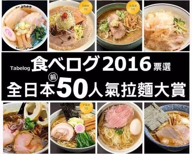 正宗日本拉麵 由 【 Tabelog │ 食べログ 】 特 別 從 三 萬 家 拉 麵 中 選 出 2016 年 最 佳 50 家 拉 麵 大 賞 。