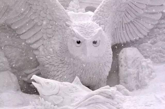 貓 頭 鷹 冰 雕 作 品 。