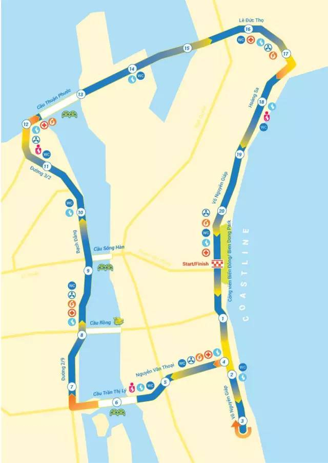 峴 港 馬 拉 松 路 線 圖 。