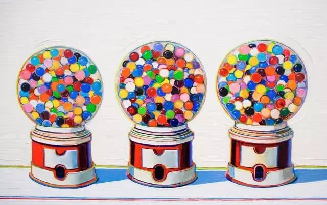 Wayne Tiebaud 口 香 糖 販 售 機 , 絲 網 版 畫 ,1970年