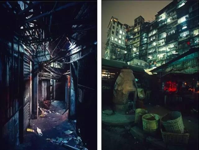 九 龍 城 寨 的 街 道 上 空 被 私 接 管 線 、 鋼 筋 等 覆 蓋 , 即 使 白 天 也 難 見 天 日 。