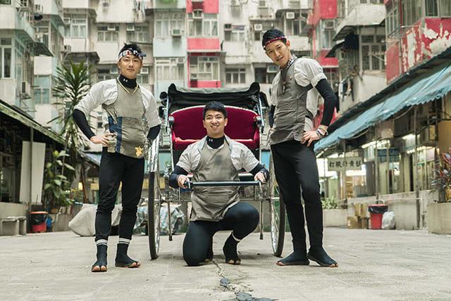 三 位 東 京 人 力 車 男 子 ( 左 起 ) 鈴 木 悠 司 、 平 野 謙 、 高 橋 圭 輔 首 次 踏 足 香 港 。