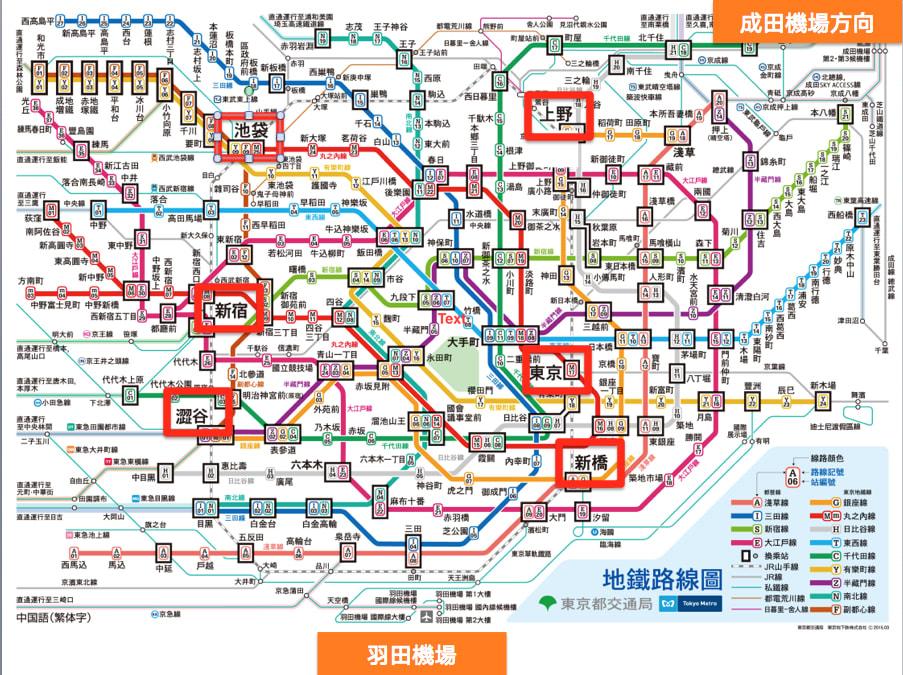 東 京 密 密 麻 麻 的 地 鐵 、 電 車