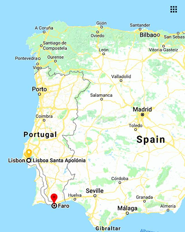 法魯(Faro)為葡萄牙最南端城市,自里斯本搭火車前往,約需3小時。圖片來源:Google Map