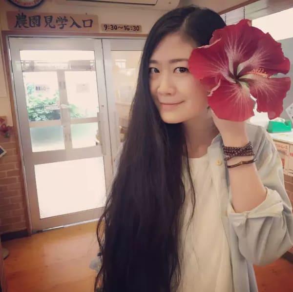 比 臉 還 大 的 扶 桑 花 。