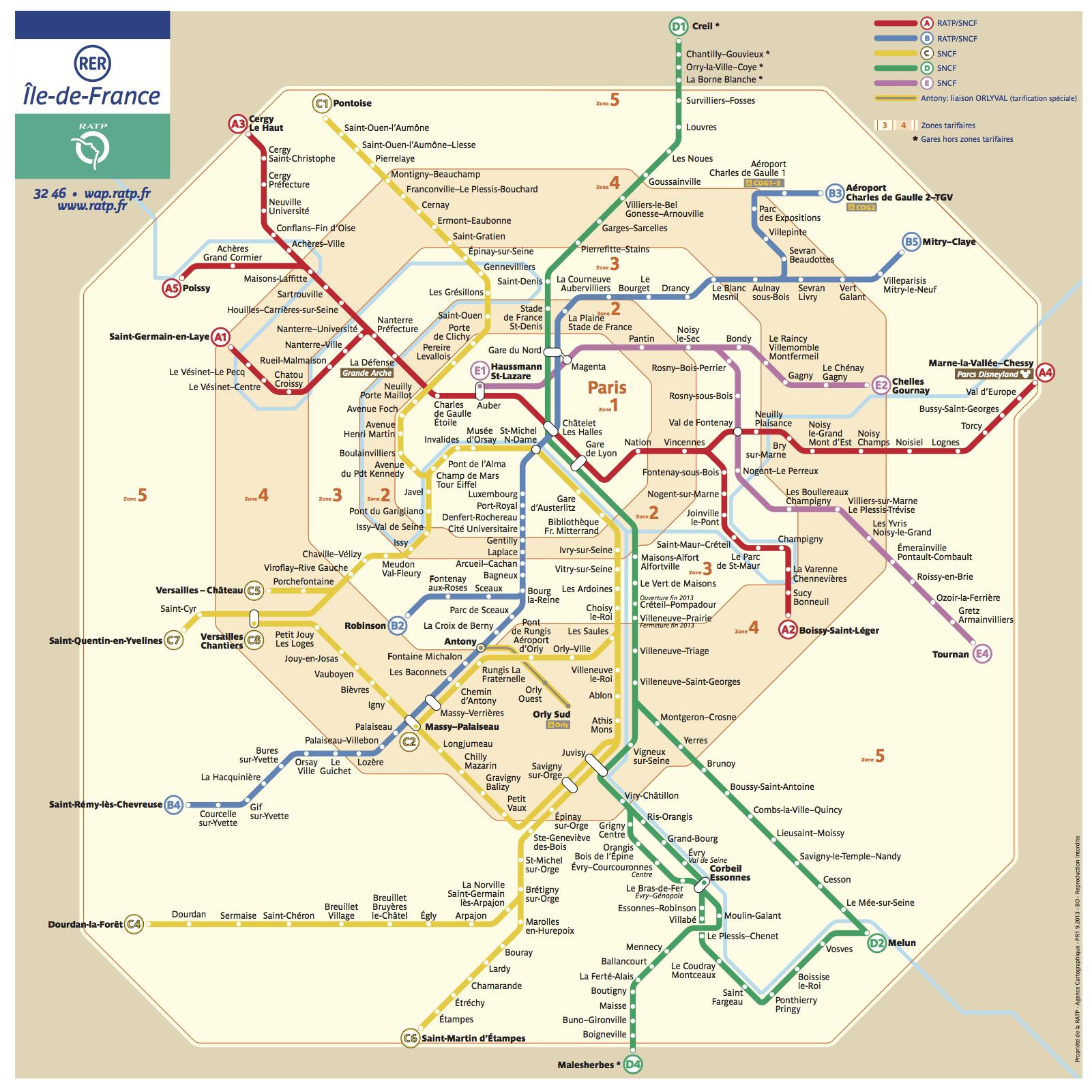 法國巴黎RER地鐵圖 photo by parisbytrain
