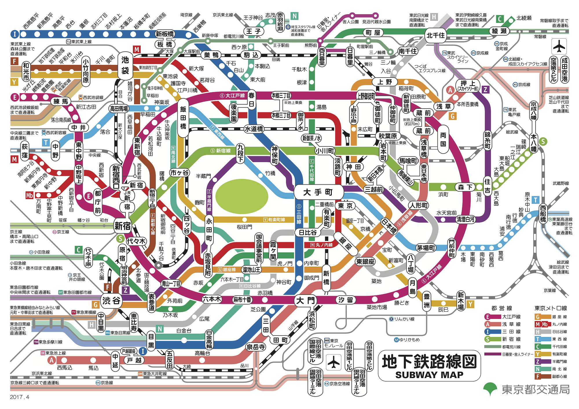 都營地鐵、東京Metro路線圖