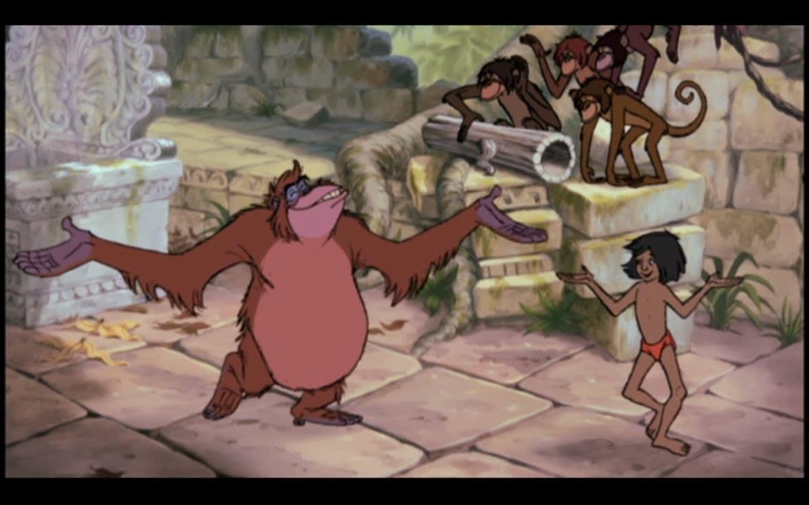 vua louie và mowgli trong the jungle book
